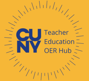CUNY Teacher Education OER Hub Logo featuring navy blue text on a yellow background.